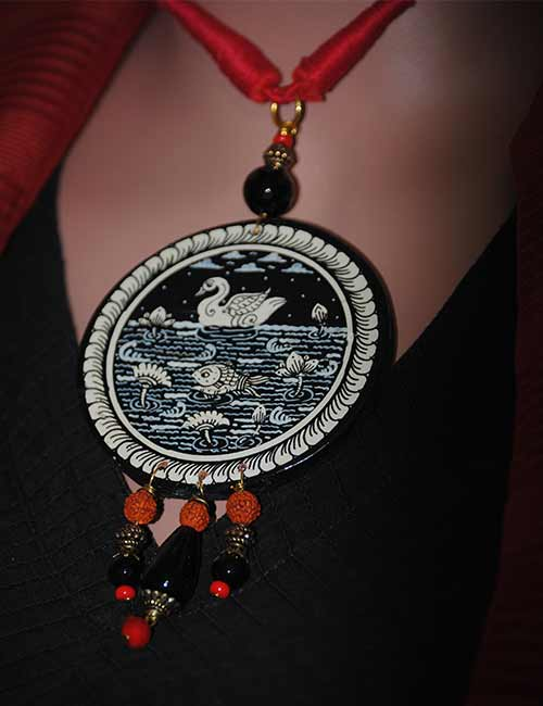 Pattachitra Wood Necklace Adjustable