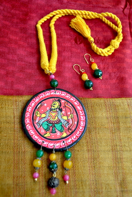 Wooden Pattachitra Necklace pendant with thread work