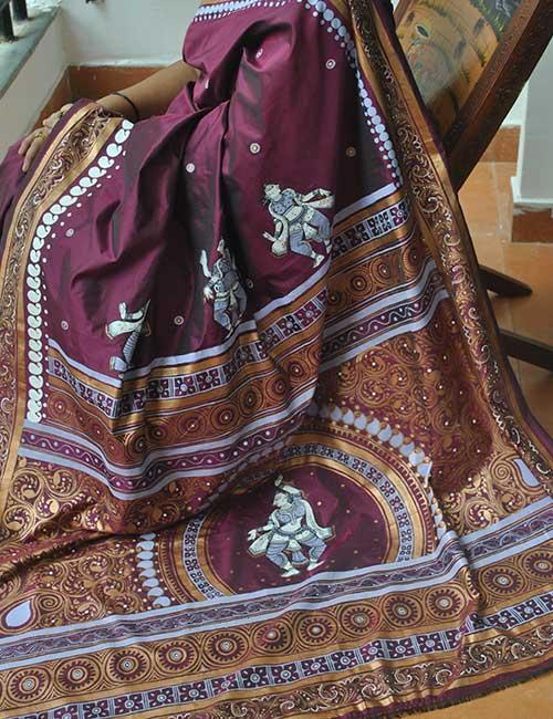 Handpainted Pattachitra Silk Saree