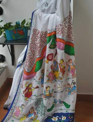 Handpainted Pattachitra Khadi Silk Saree