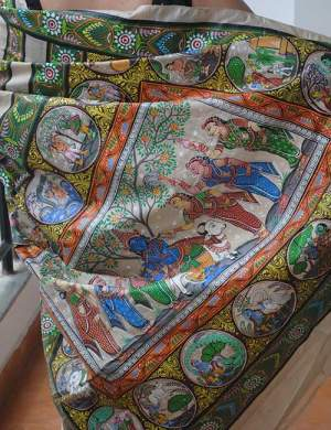 Handpainted Pattachitra Tassar Silk Saree