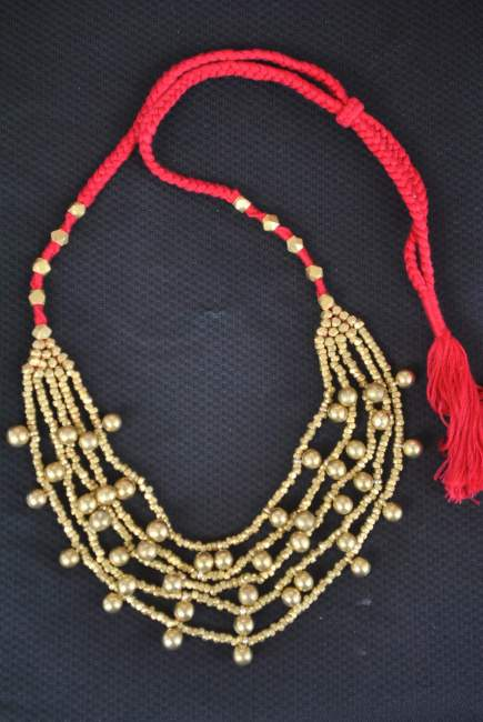 Handcrafted-Dhokra-Necklace-Ball-Chain-Red-Thread-Work-with-Golden-Beads3-e1516097735605 Rustic Charm of Tribal Jewellery in the form of Elegant Designs