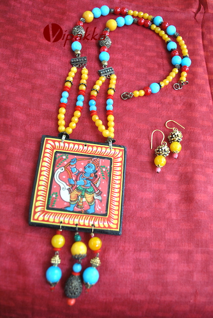 Hand-painted Wooden Patachitra Necklace with beads work 1