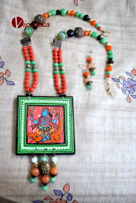 Hand-painted Wooden Pattachitra Necklace pendant with beads work