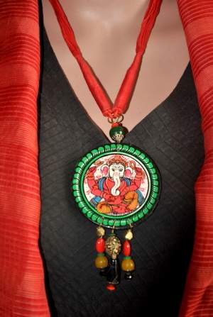 Vipakka_Handpainted-pattachitra-necklace-60-300x447 5 Amazing ways to style your Pattachitra Necklace  - Tradition meets Trend