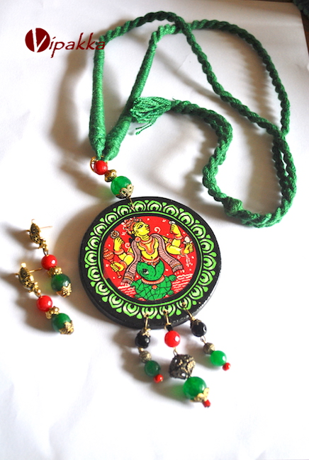 Wooden Patachitra Necklace pendant with thread work
