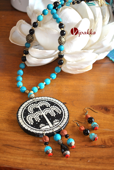 wooden patachitra necklace