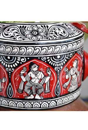 Vipakka hand painted Kettle home decor pattachitra art