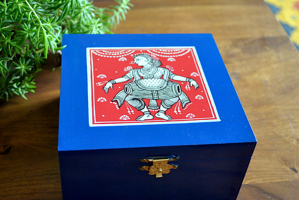 Hand-painted Jewelry Box inspired by Pattachitra Art Form - MDF Box with acrylic paint