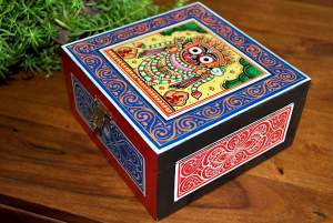 Hand painted Jewelry Box inspired by Pattachitra Art Form - MDF Box with acrylic paint 23