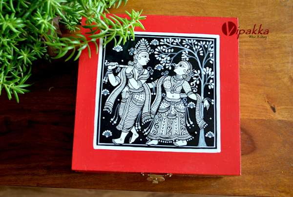 Hand painted Jewelry Box inspired by Pattachitra Art Form - MDF Box with acrylic paint 31