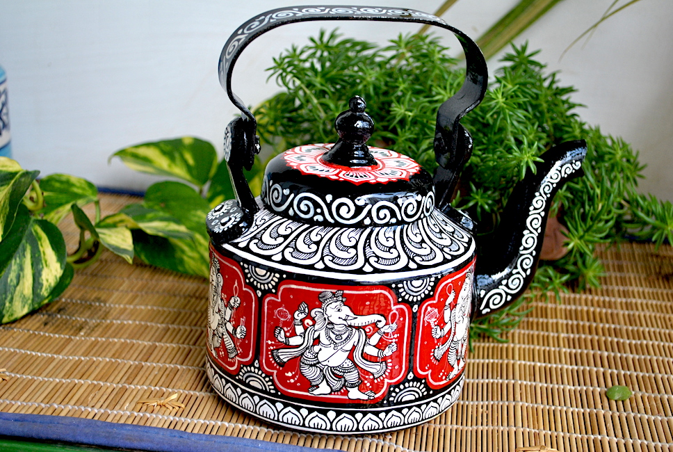 hand painted kettle from Vipakka with patachitra art 31