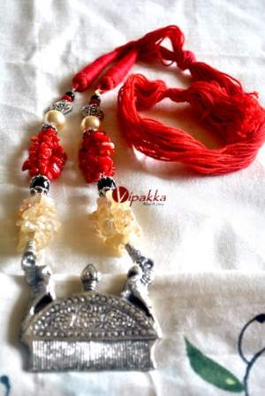 Handcrafted german silver necklace with semiprecious Stone work – VE212