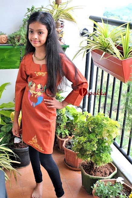 hand painted patachitra kurti for young girls