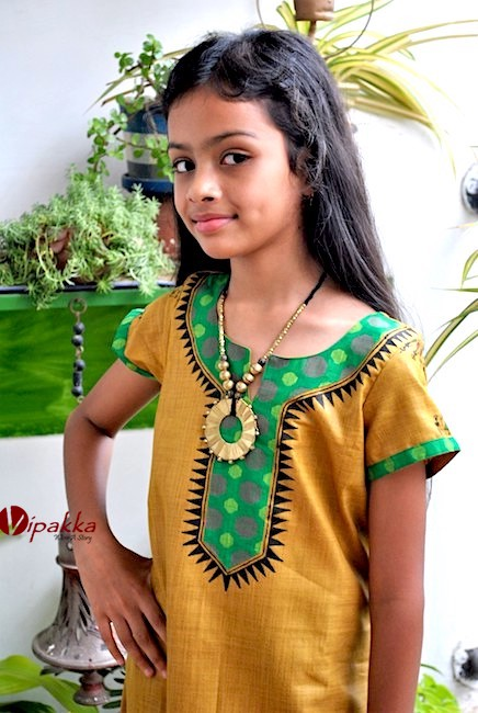 Hand painted Patachitra Art Kurti for Young Girls - Yellow