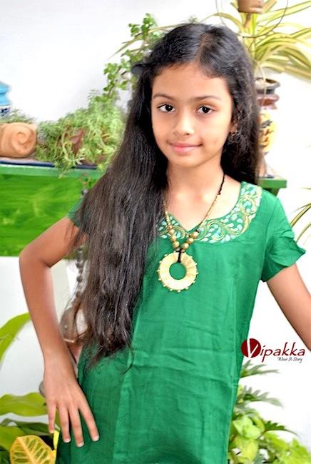 Hand painted Patachitra Art Kurti for Young Girls - Green