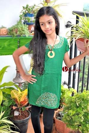Hand painted Patachitra Art Kurti for Young Girls - Green