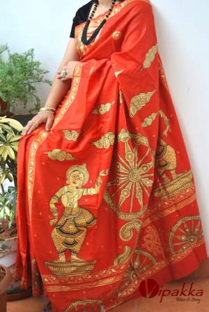 handpainted patachitra cotton and silk saree vipakka -2