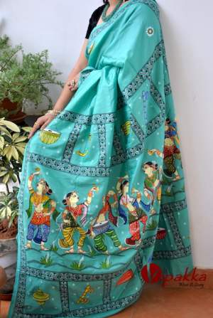 handpainted patachitra cotton and silk saree vipakka -3