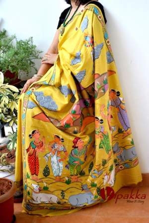 handpainted patachitra cotton and silk saree vipakka -4