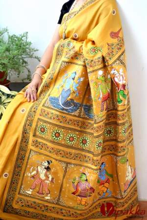 handpainted patachitra cotton and silk saree vipakka -6