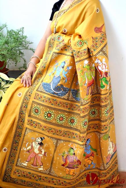 handpainted patachitra cotton and silk saree vipakka -6