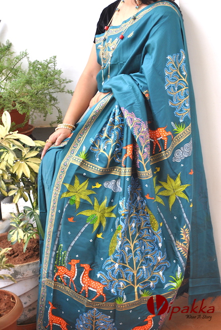 handpainted patachitra cotton and silk saree vipakka -7
