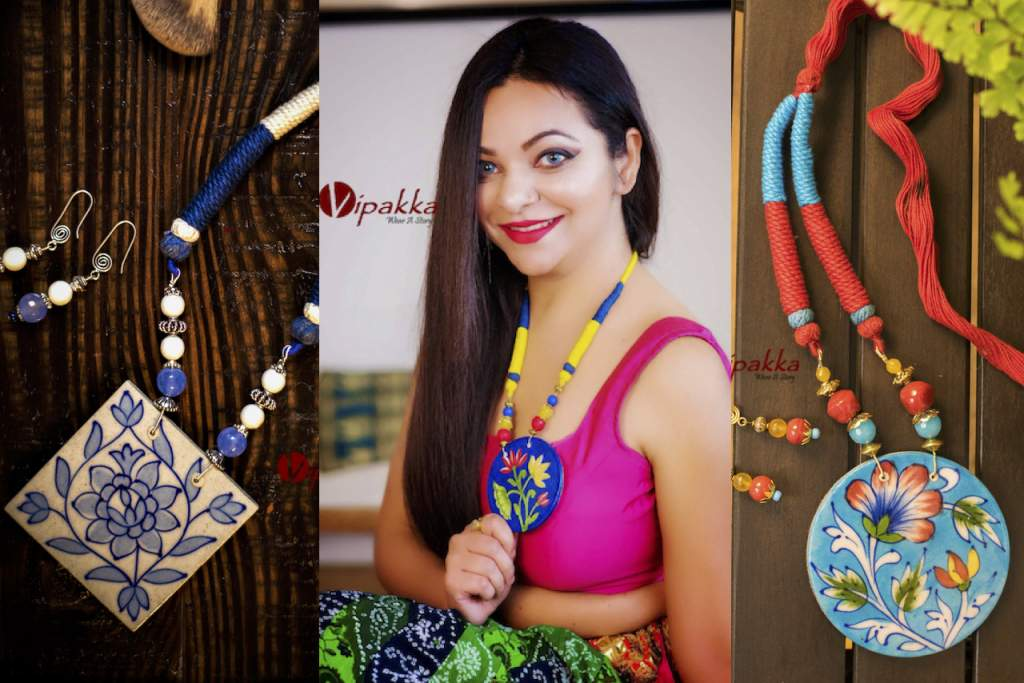 hand-painted ceramic pendant necklace set _ vipakka