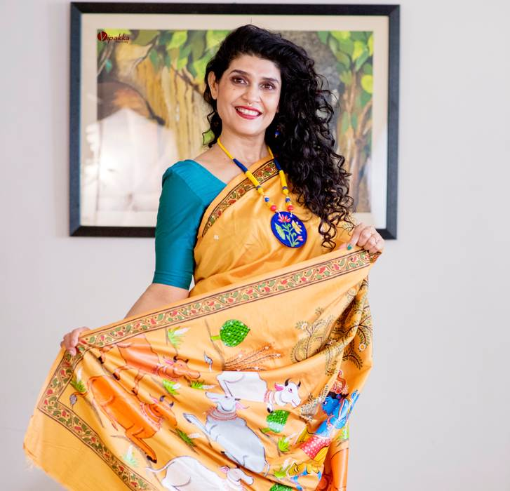 Vipakka_hand-painted-patachitra-saree-and-necklaces Shop The Look