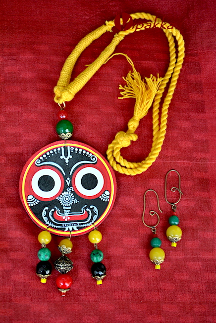Hand-painted Patachitra Necklace with thread work - 2