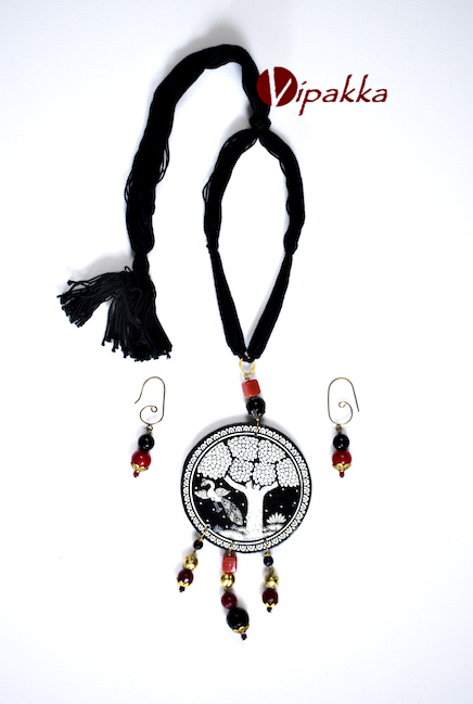 Hand-painted Patachitra Necklace with thread work - vn 1