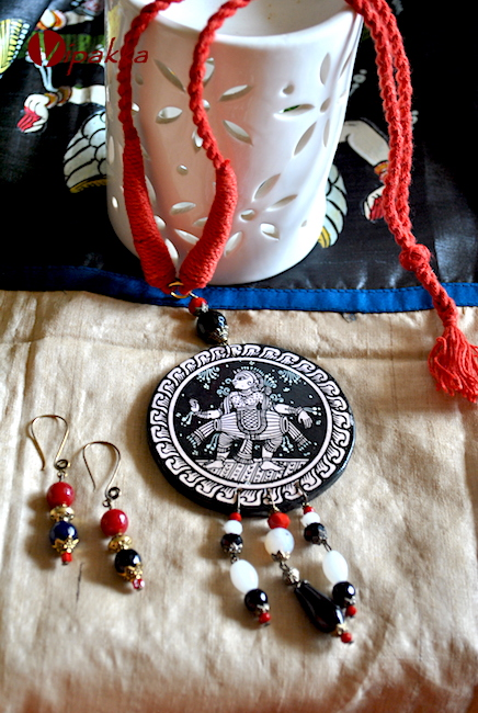 Hand-painted Pattachitra Necklace with thread work