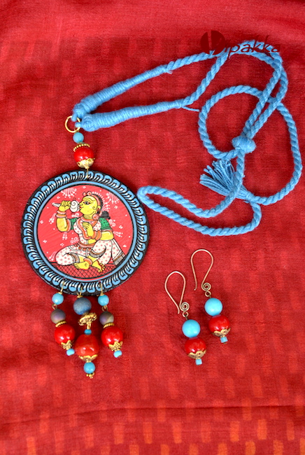 Hand-painted Wooden Patachitra Necklace with beads work