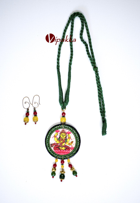 Hand-painted Wooden Patachitra Necklace with beads work 309