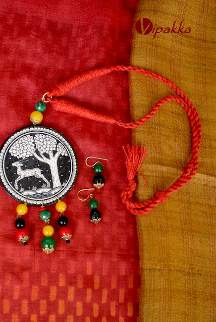 Hand-painted Wooden Patachitra Necklace with thread work