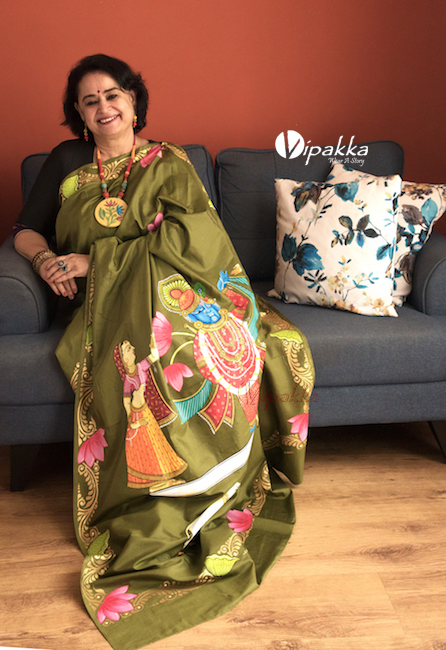 Vipakka hand-painted patachitra saree